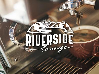 Riverside Lounge coffee illustration lounge swiss mountains coffee shop logo vector logo design branding
