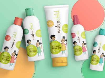 Nativechild kid's range dots beauty product wellness character kids range hair care vector design packaging design south africa illustration