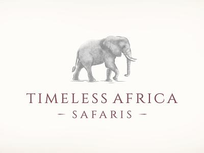 Timeless Africa Safaris logo icon elephant corporate identity timeless update elephant logo africa safari logo branding illustration