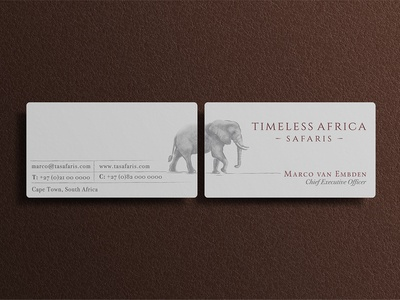 TAS Business Card logo design corporate identity leather business card elephant logo africa safari travel logo branding illustration