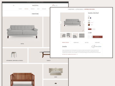 furniture store website minimal ux web ui design