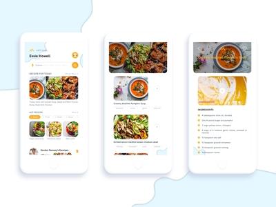 Cook Book ux mobile app flat design ui