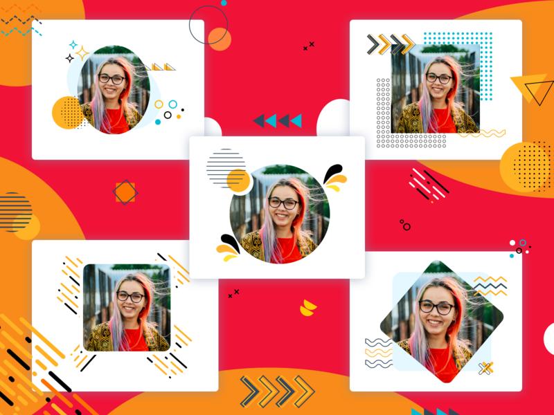 Memphis Profile Cards vector design ui