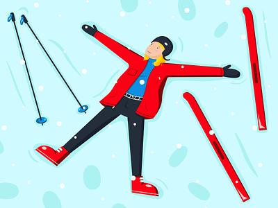 Winter fun flatillustration 2d illustration 2d art happy ski skiing winter illustration vector