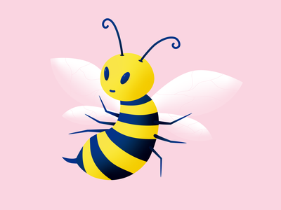 Buzzing insect bee design flat illustration character 2d art illustration vector flat