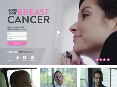 Landing page for the film about cancer