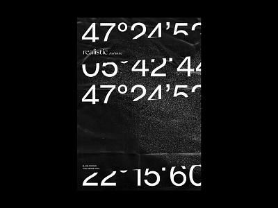 /rɪəˈlɪstɪk/ blankposter typography poster design grain white black  white black cut numbers poster