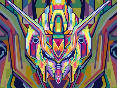 GUNDAM japan japanese gundam abstract design colors colorful commission open abstract art popart geometric beautiful abstract wpap