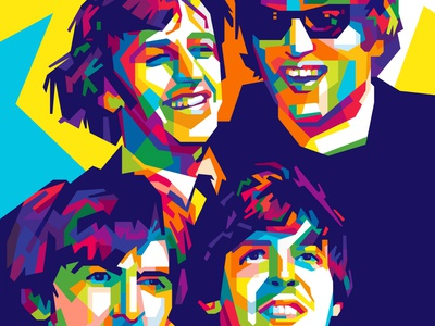 the beatles colors musician colorful abstract art john lennon paul mccartney the beatles popart geometric beautiful abstract wpap