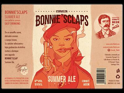Bonnie Sclaps Beer Label vintage craft gun branding beer branding beer illustration design 2d