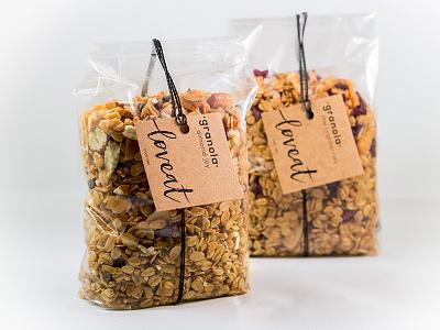 Loveat vegan granola food tag label packaging typogaphy vector logo design branding