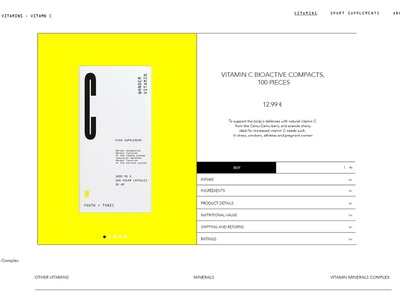 Youth + Tonic product page ui website