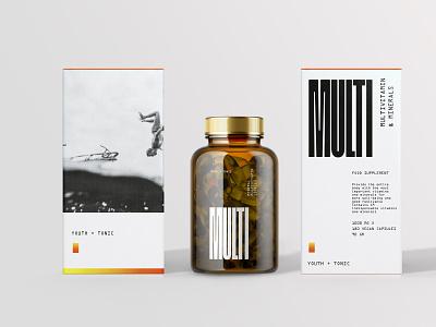 Youth + Tonic multivitamins packagedesign branding design