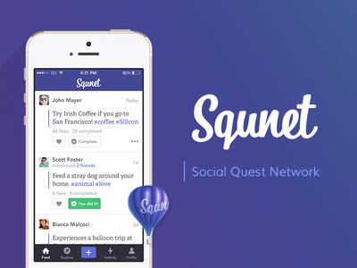 Squnet landing web ux ui mobile iphone ios