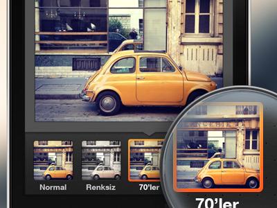 Filter Selection ios app application iphone mobile icon photo filter frame crop dark instagram ux design ui design user interface design ui ux interface