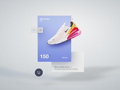 Fluent Design 3D Practice Webshop webdesigner ui cinema 4d webdesign nike shopping product card blue depth skeumorphism shadows shop shoes 3d art cinema4d 3d webshop