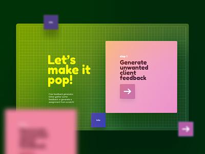 Evening Stuff - Design Exploration webdesign pink green generator feedback pop fun overlay gradient visual ui design