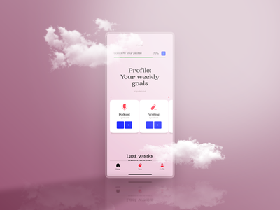 DailyUI #006 - Profile mobile ui app design mobile experimental typography goals profile pink experiment clouds