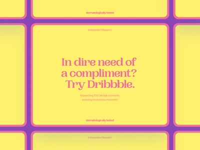 The Niceness Movement - Dribbble Analysis branding styleguide file typography pink yellow colorful flower power hippy document research dribbble