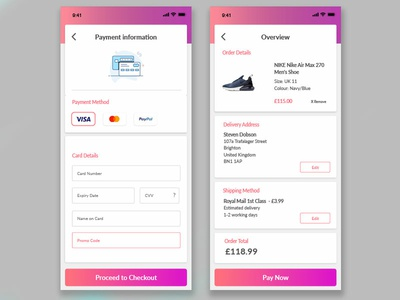 Daily UI Challenge #002 - Checkout Screen uxdesign mobile checkout checkout form ios gradient app web design visual design nike trainers nikeairmax ecommerce app ecommerce uidesign userinterfacedesign dailyui 002 dailyui