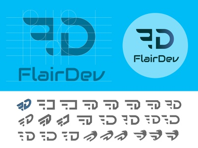 Logo design for FlairDev illustrator minimal ui flat typography vector branding logo web design