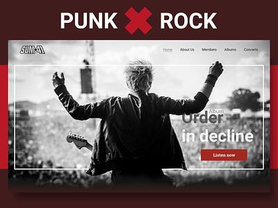 Music band website concept music band music punk rock home screen website adobe xd web ui design
