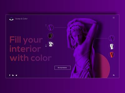 Design concept of the main screen sculpture logo home screen website adobe xd web ui design