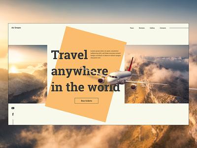 Travel agency main screen flat ux home screen website adobe xd web ui