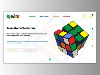 Rubiks Cube homepage e-shop rubiks cube hannahwford design web ux ui web design