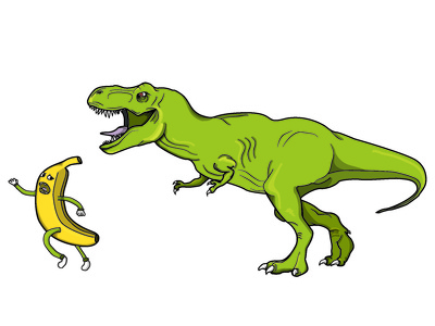 Banana T-Rex Illustration