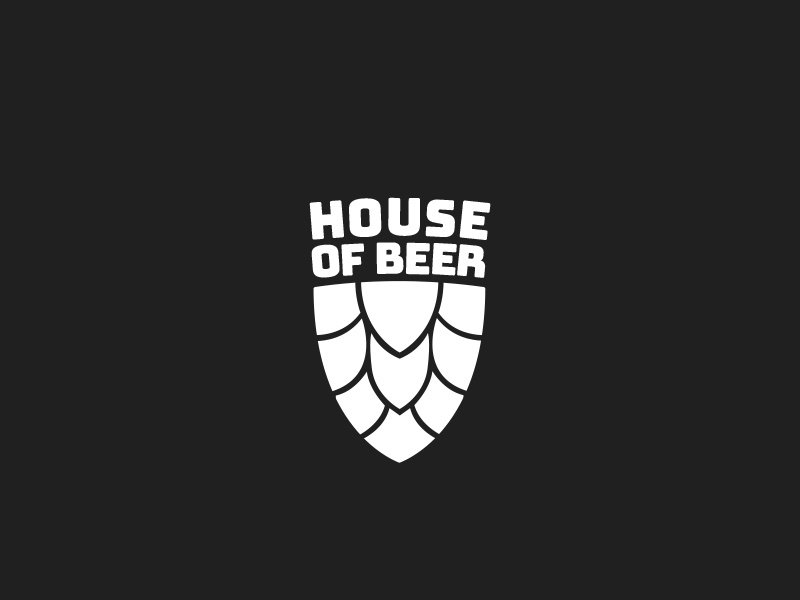 House Of Beer hop mark logo logo design branding shield beer symbol
