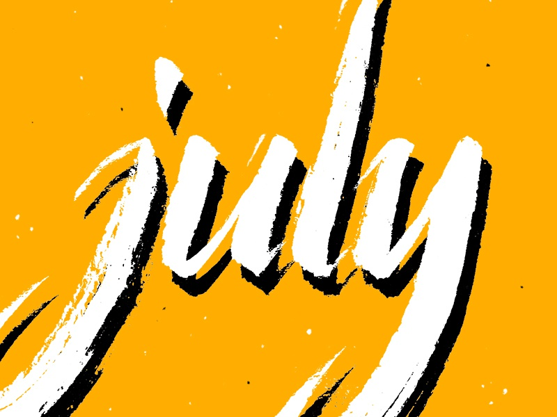 July texture lettering hand lettering brush pen shadow typography type yellow july pentel illustration calligraphy