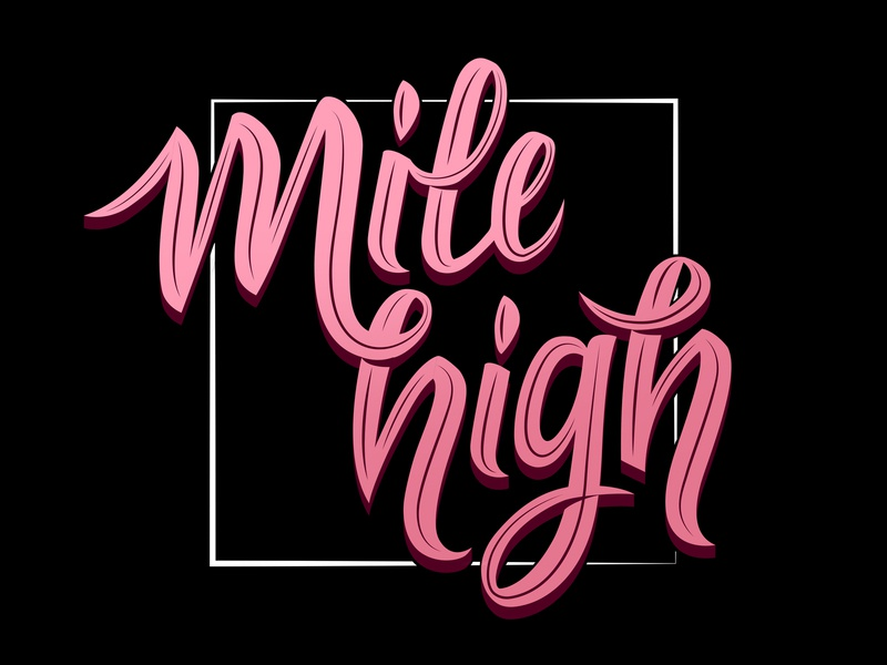 Mile High pink logotype mark font calligraphy type sript hand lettering illustration lettering typography