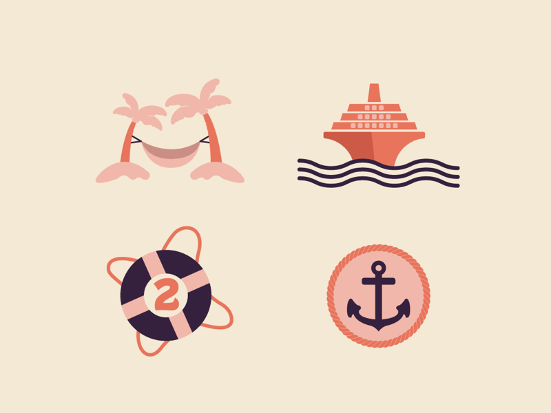 Cruise Icons palmtree iconset ship cruise vector icons