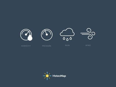MeteoMap clean branding brand identity icondesign weather meteo iconography icons