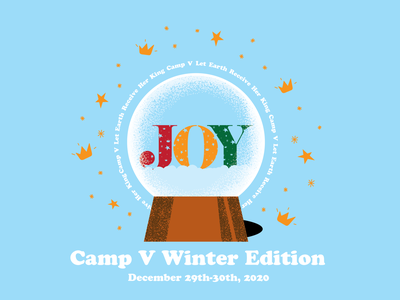 Camp V-Snowglobe type texture stipple illustration 2d branding design kids camp christmas yellow crown star blue snow globe snowglobe snowflake winter snow