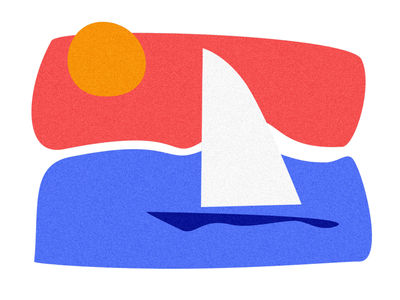 Seaside sailing illustration