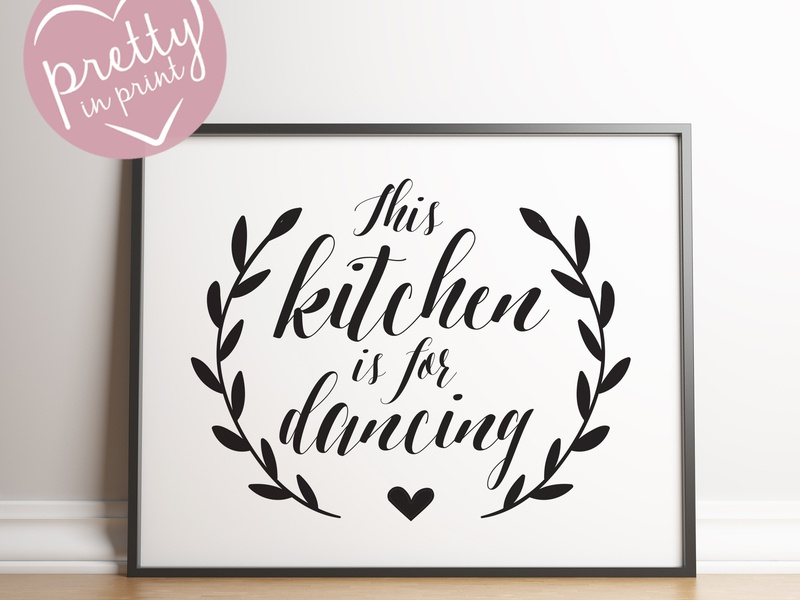 """Kitchen Artwork """"This kitchen is for Dancing"""" illustration monochrome framed gift dancing kitchen type art typography music poster"""