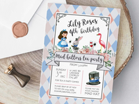 Mad hatters tea party invitation