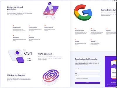 Features Page landing page design graphic design web design ui