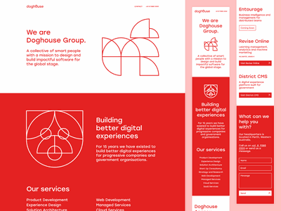 Doghouse Group Landing Page brand geometric pug poodle dog animals red branding illustration design web design ui