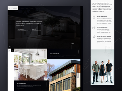 Limitless - Homepage Sneak Peek web design home page home design home builder humaan dark grid responsive ux ui