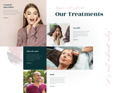 Cosmetic Treatment Block web design ux ui humaan layout grid cosmetic