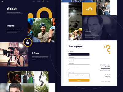Video Production Company - About Us Page agency video production dark grid block web design humaan ux ui