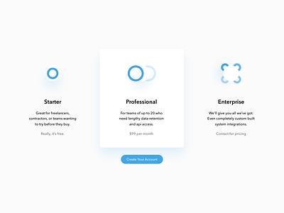 Pricing Panels humaan illustration shadows light web design ui icons pricing plan pricing page pricing