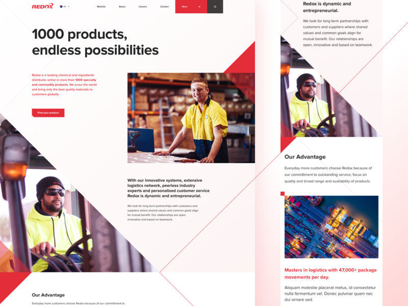 Redox Homepage - Chemical & Ingredients Distributor red corporate distributor chemicals responsive ux web design ui humaan