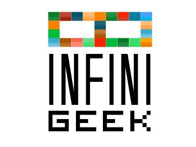 Infinigeek.com Logo geek logo branding blog infinigeek science space robot infinity