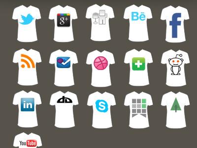 T-Shirt Social Media Icons social media icon icons design free freebies