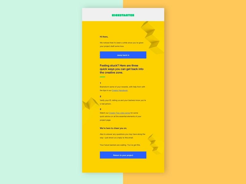 Return to Project - Creator Development branding typography design email