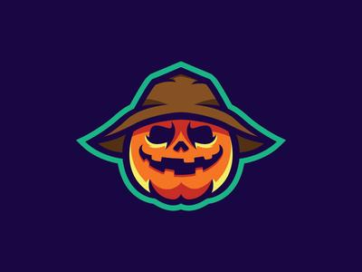 Scarecrow Pumpkin Logo Mascot